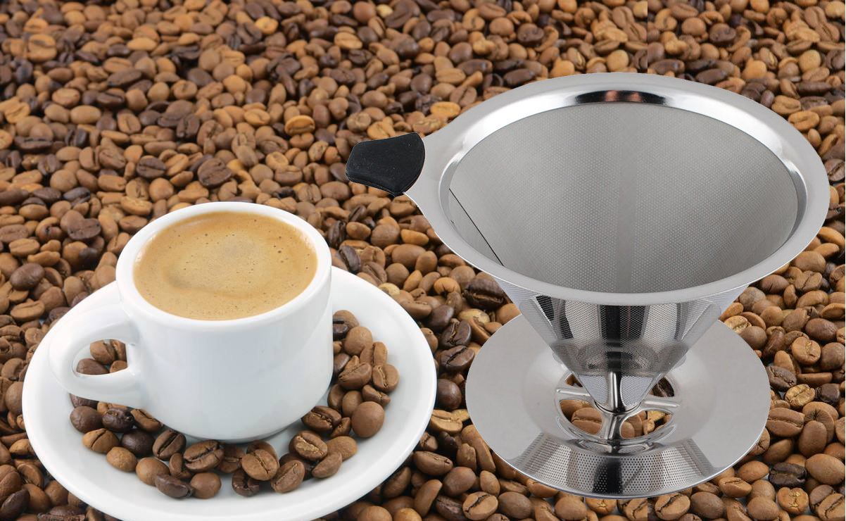 304 Stainless Steel Reusable Coffee Drainer with Cup Stand /&Cleaning Brush Eatisfit Podoy Pour Over Cone Coffee Dripper Filter 1-4 Cups