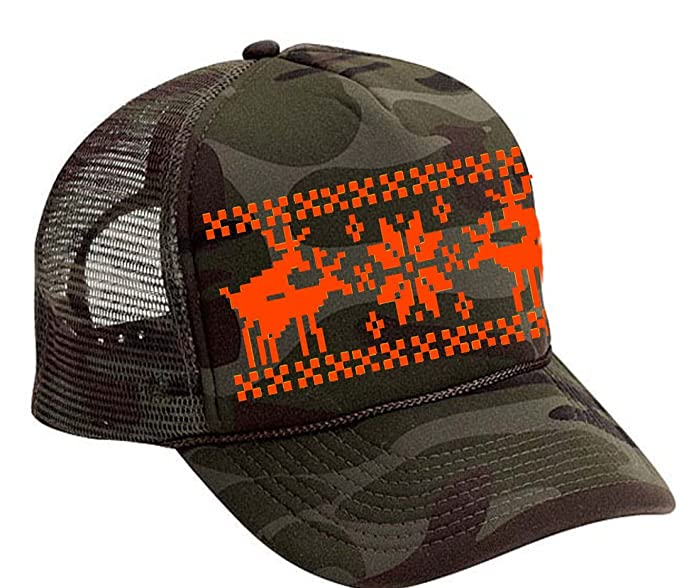 bf50121b Solid Humping Sex Reindeer Mesh Trucker Hat Ugly Christmas Sweater Party  (Camo Blaze)