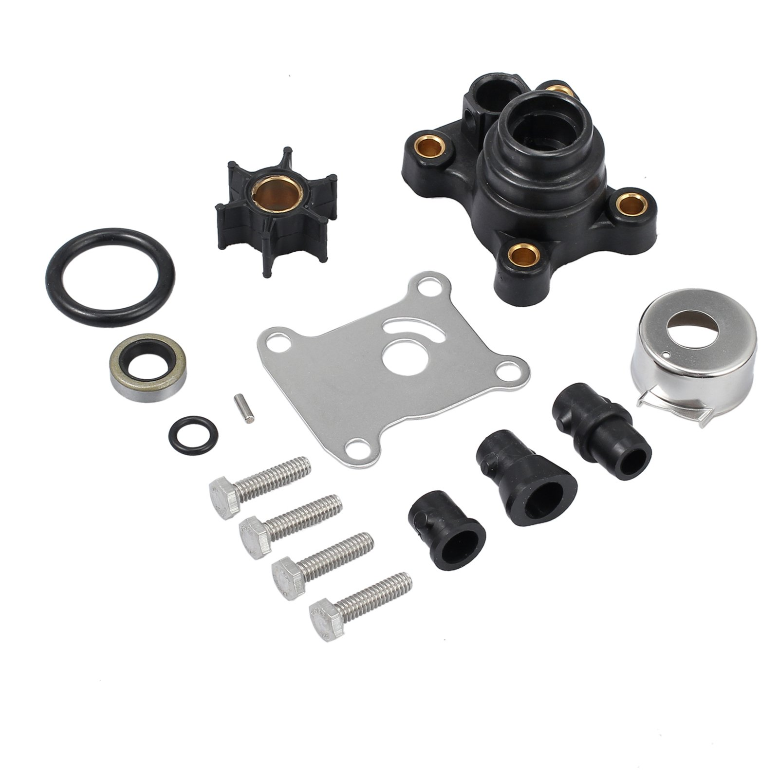 CAMWAY Impeller Water Pump Repair Kit Replaces for 9.9hp & 15hp Johnson/Evinrude 2-Stroke 1974 & Later, 4-Stroke 1995 & Later by CAMWAY