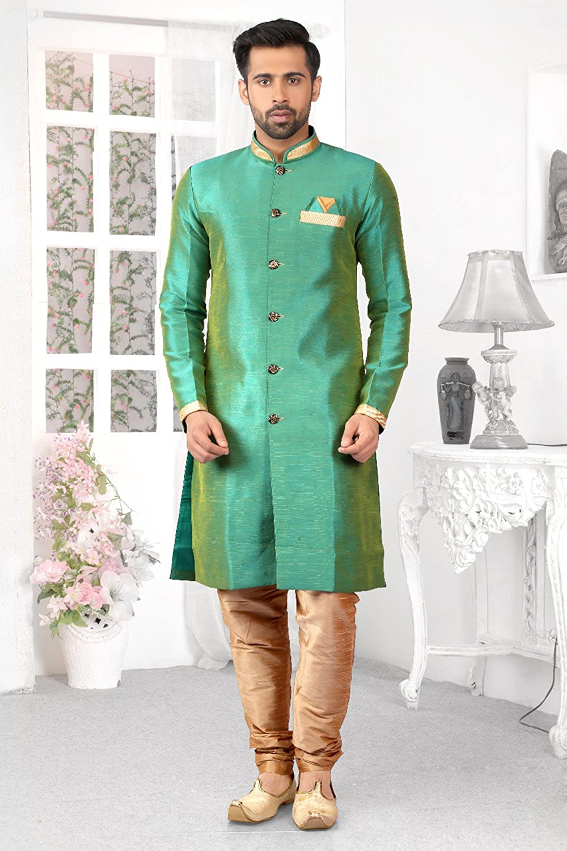 Indian Kurta Pajama Men Wedding Indo-Western Designer Dress ...