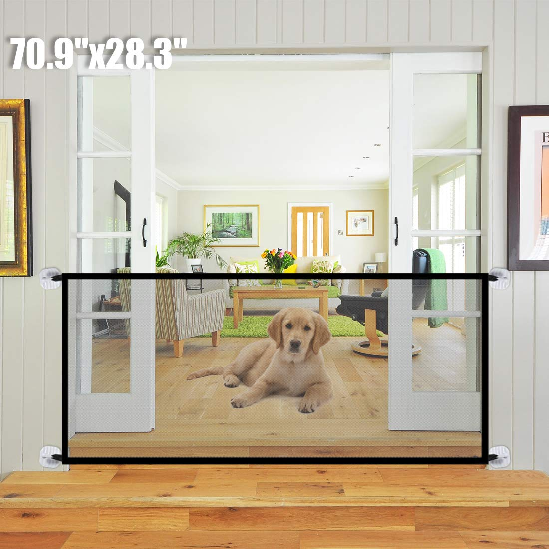 70.9''x28.3''Magic Gate for Dogs, Pet Gate,Magic Gate Portable Folding mesh gate Safe Guard Isolated Gauze Indoor and Outdoor Safety Gate Install Anywhere for Dogs