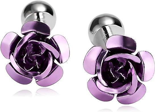 AnazoZ Gemelos de Novio Gemelos Camisa de Acero Inoxidable Flor Rosa Gemelos de Novio Púrpura Gemelos Hombre: Amazon.es: Joyería