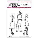 "Ranger Scribbly Fashion Icons Dina Wakley Media Cling Stamps, 6"" by 9"""