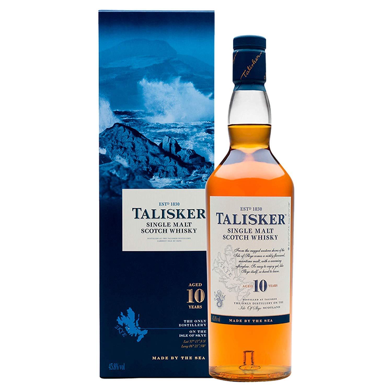 Talisker 10 anni Scotch Whisky Single Malt - Whisky Scozzese Single malt dell'isola di Skye invecchiato 10 anni - Torbato e secco con gusto intenso marino e affumicato - Astucciato - 1 x 70 cl