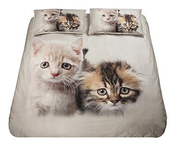 Juego de funda nórdica, 100% algodón, para cama matrimonial con impresión digital de gatos: Amazon.es: Hogar