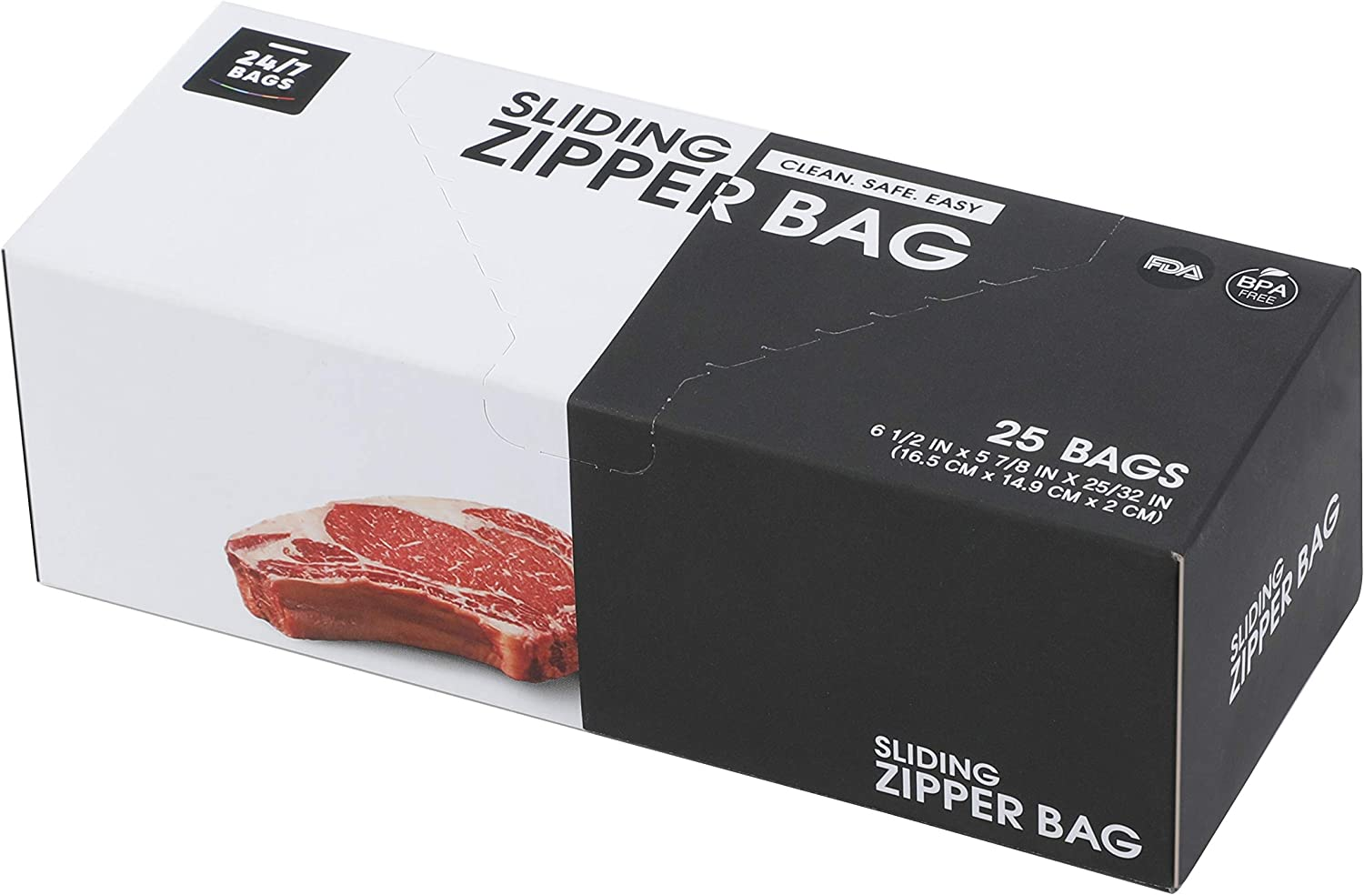 24/7 BPA Free Sliding Zipper Bags for Food. Storage Food Bags, Freezer Bag with New Seal Technology. (6 1/2