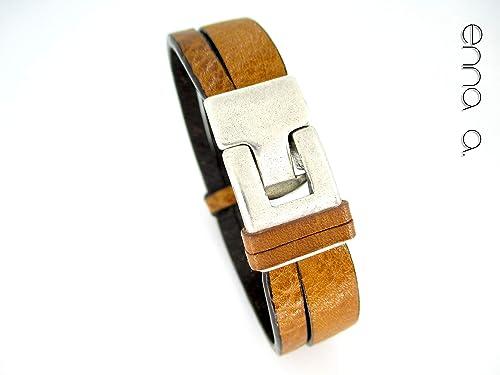 Pulsera cuero marrón claro, pulsera hombre, estilo masculino ...