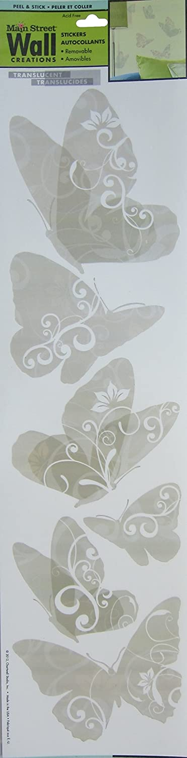 Amazon.com: Main Street Wall Creations, Removable Stickers, Translucent  Butterflies: Home U0026 Kitchen