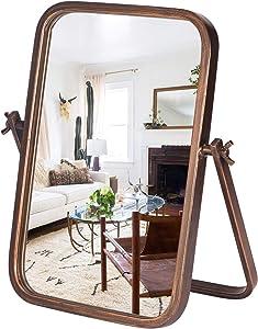 Geloo Vintage Vanity Desk Mirror - Makeup Cosmetic Table Top Mirrors Standing Mirror Decorative Rectangle 360 Rotation Metal Framed Golden for Desktop Decor, Office, Bedroom, Bathroom, Living Room