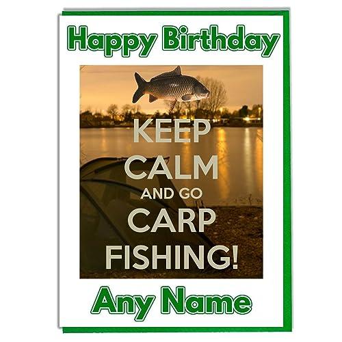AK Giftshop Keep Calm And Go Carp Fishing Personalised Birthday Card