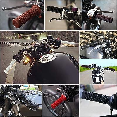 2 Pair 22mm//24mm Motorcycle Motorbike Handlebar Grips Black and Dark Brown