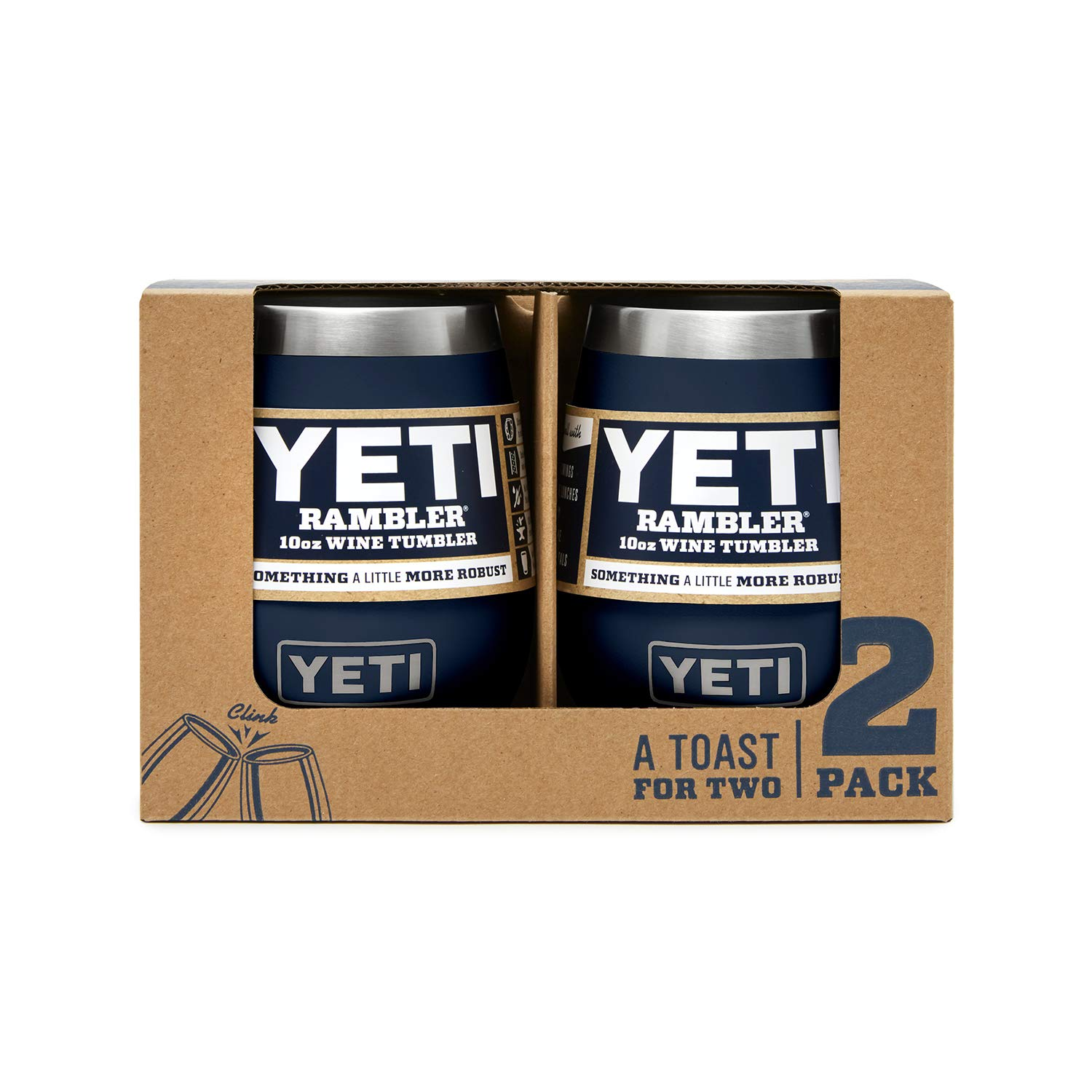YETI Rambler 10 oz Stainless Steel Vacuum Insulated Wine Tumbler, 2 Pack, Navy