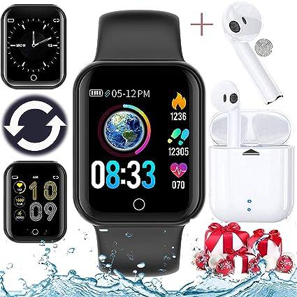 Smartwatch, Reloj Inteligente innovador Un par de auriculares bluetooth (Incluyendo caja de batería)=Juntos, Impermeable IP68 Pulsómetros Podómetro ...