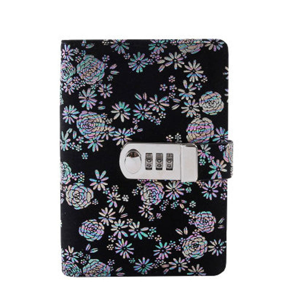 Yakri A6 Spring Binder Notebook Password with Lock Diary Book Creative Password Diary Handbook Notepad Locking Journal Diary TPN105 (Black) Umei TPN105-4