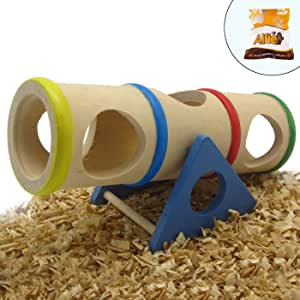 Alfie Pet - Small Animal Playground - Karo Cylinder Wooden Seesaw Toy for Small Animals Like Dwarf Hamster and Mouse