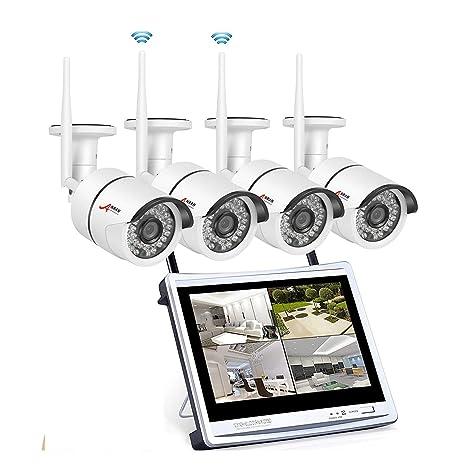 Sistema de cámara de Seguridad,1080P HD NVR inalámbrico con 12 Pulgadas de Pantalla 4PCS