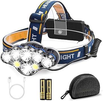 Migimi Linterna Frontal Alta Potencia, Lámpara de cabeza 13000 Lúmenes USB Recargable Led Linternas 8 Modos, IPX4 Impermeable Luz Frontal Cabeza para ...