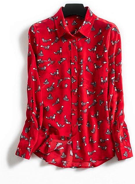 XCXDX Camisa con Estampado De Zorro, Blusa De Seda De Moda para Mujer, Blusa De Manga Larga para Dama De Oficina: Amazon.es: Deportes y aire libre