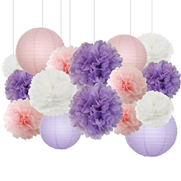 Lavender Themed Party Bridal Shower Decorations Baby Girl Birthday Party Supplies  Baby Shower Decorations Furuix 16
