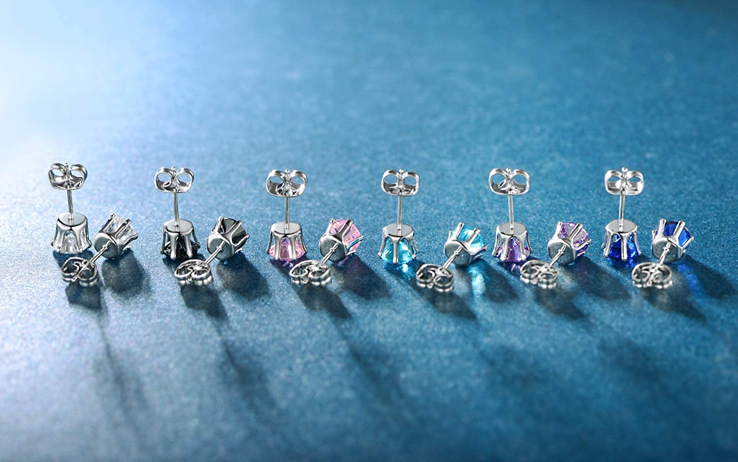 MDFUN 6 Pairs 18K Yellow Gold Plated Round Cubic Zirconia Stud Earring Pack of 6