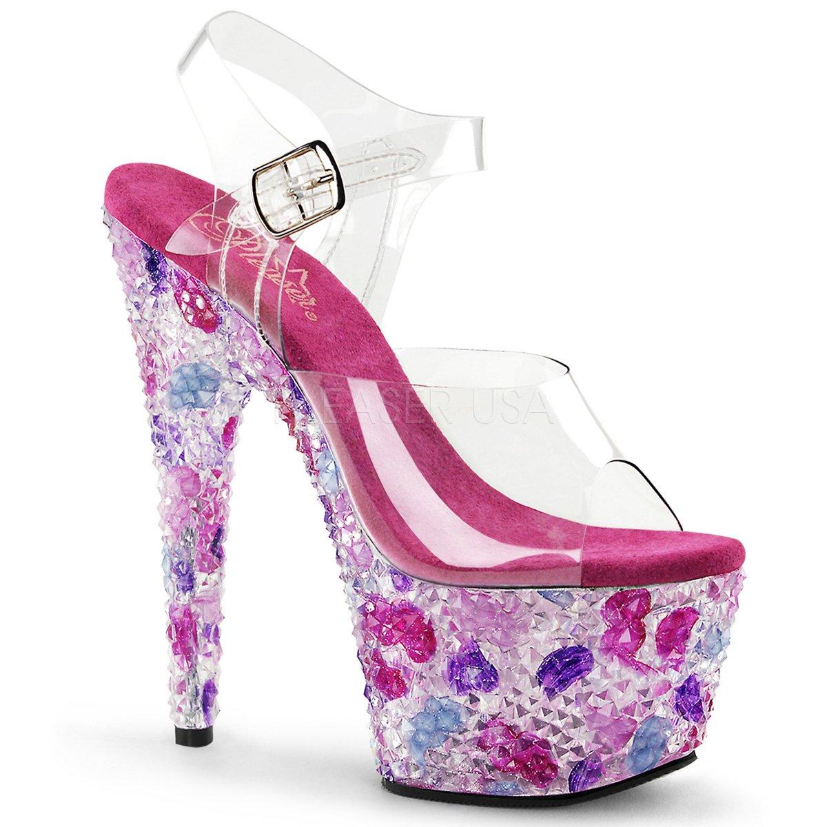 Pleaser Crystalize-708 sexy High Heels Poledance Gogo Strass Sandaletten Transparent Hot Pink Fuchsia 35-41 Pink