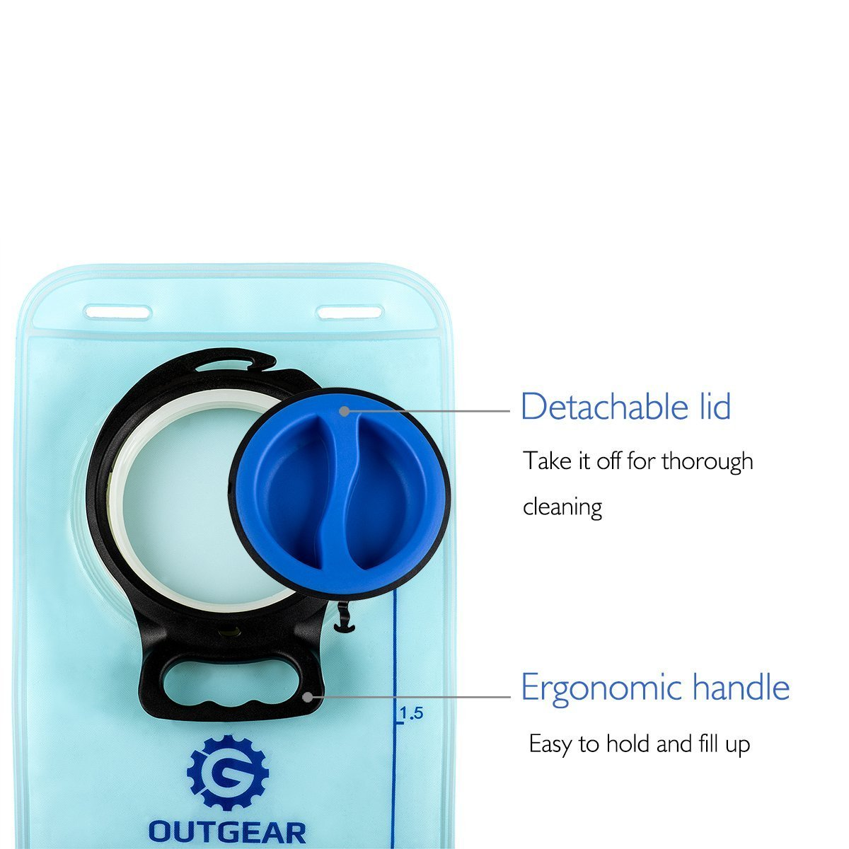 OUTGEAR Hydration Bladder 2L 70OZ Water Reservoir, BPA Free, Leak-Proof, Easy Clean for Bicycling Hiking Camping Hunting Running with Backpack by OUTGEAR (Image #4)