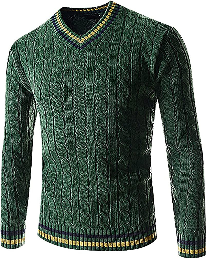 L Mancave Men Cotton Cashmere Cable Knit Striped Edges Full Sleeve Polo Sweater ArmyGreen S,Manufacturer