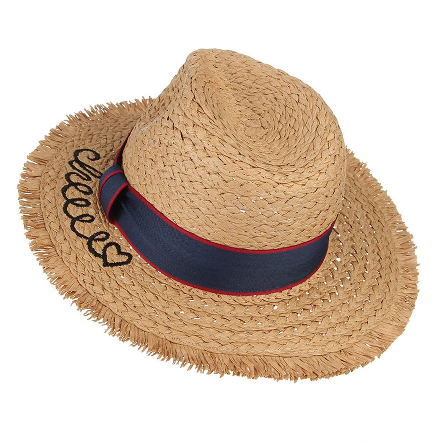 Cute Kids Summer Hat for Boys Girls Wide Brim Straw Hat with Belt Embroidery Letter Sun Hat Outdoor Beach Cap