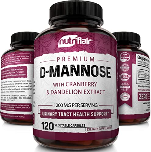 NutriFlair D-Mannose 1200mg, 120 Capsules - with Cranberry and Dandelion Extract - Natural Urinary Tract Health UTI Support - Best D Mannose Powder - Flush Impurities, Detox Body, for Women and Men