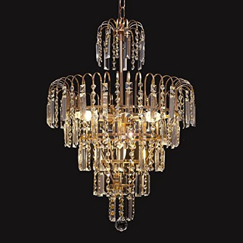 GTM Crystal Chandelier Luxury Pendant Ceiling Lights Fixture Lamp for Bathroom Bedroom Dining Room Living Room Hallway Entry D19.3 X L27