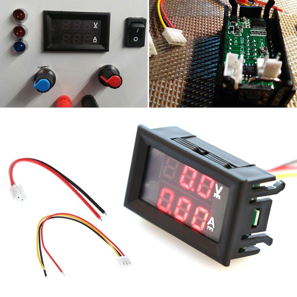 Qisuw Dual LED Digital Voltmeter Ammeter DC 0-100V 10A Voltage AMP Power Car Monitor