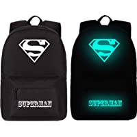 Night Glowing Superman Canvas Travel Shoulder Backpack Hiking School Bag