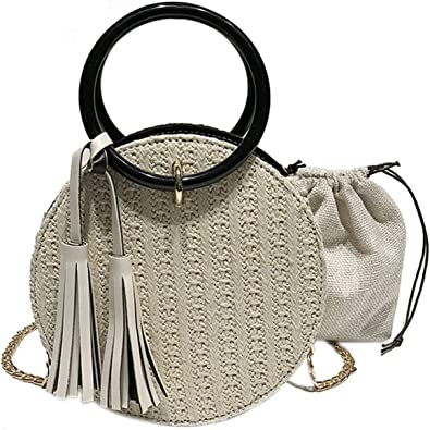 Round Straw Bag For Women Beach Handmade Shoulder Bags Satchel Bag Womens Handmade Rattan Woven Round Handbag Summer