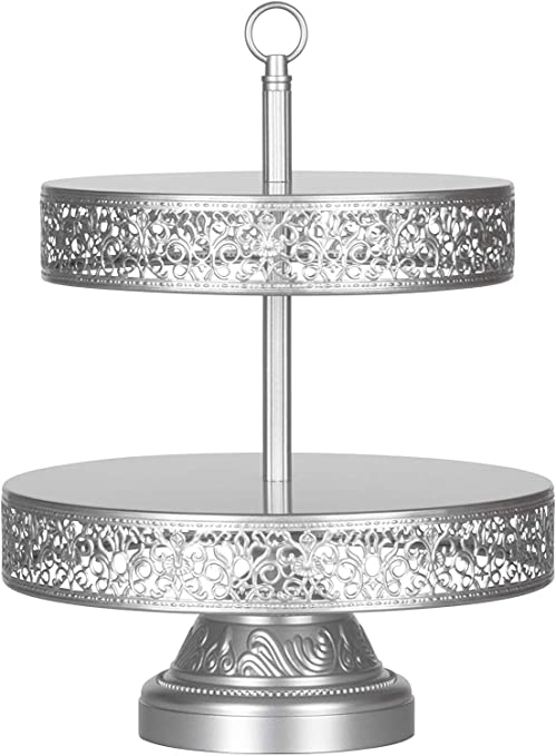 Amalfi Decor 2 Tier Dessert Cupcake Stand Large Pastry Candy Cookie Tower Holder Plate For Wedding Event Birthday Party Round Metal Pedestal Tray Silver Cupcake Stands