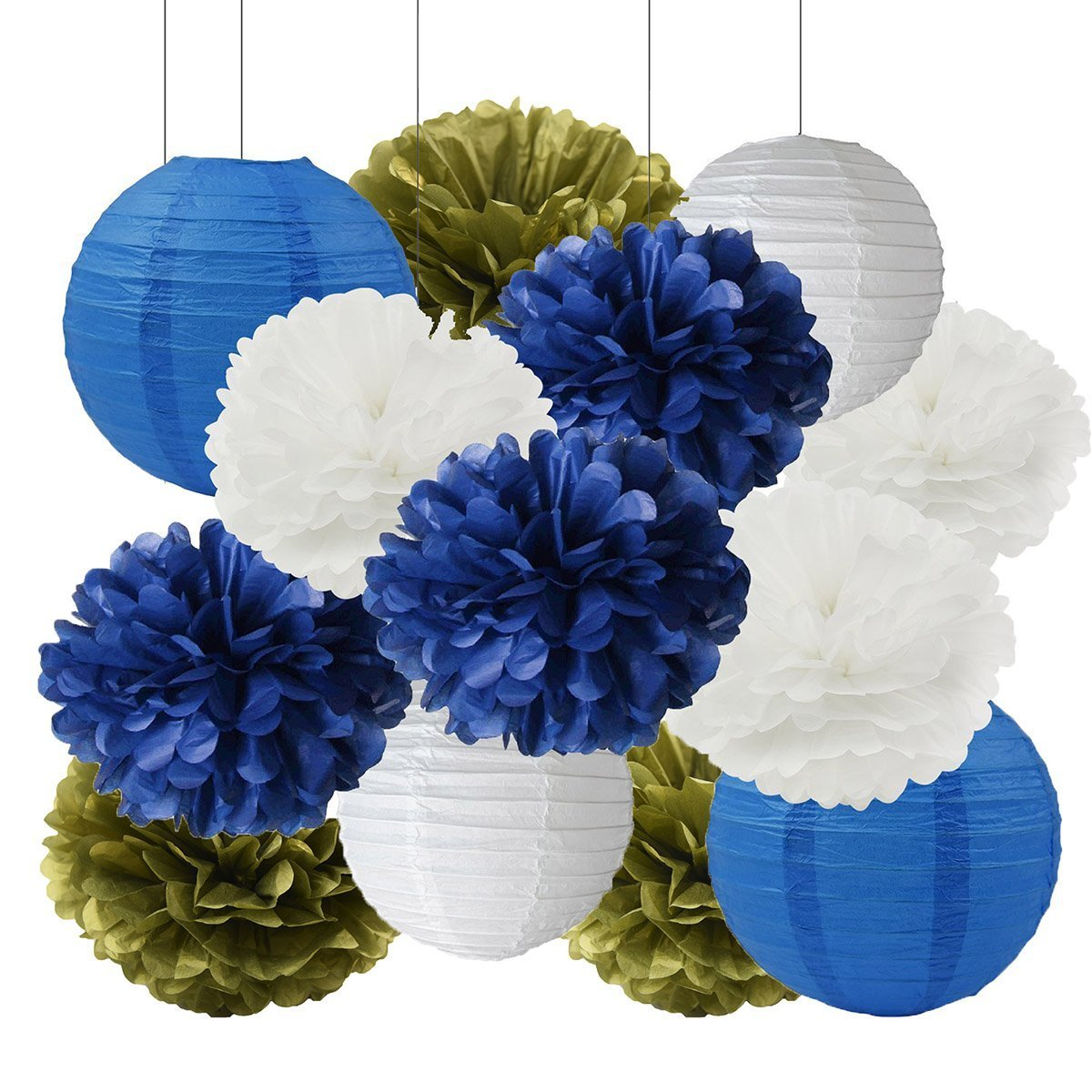 Furuix Big Size White Navy Blue Gold 12inch Tissue Paper Pom Pom Paper Lanterns for Navy Blue Themed Party Wedding Paper Garland, Bridal Shower Decor Baby Shower Decoration