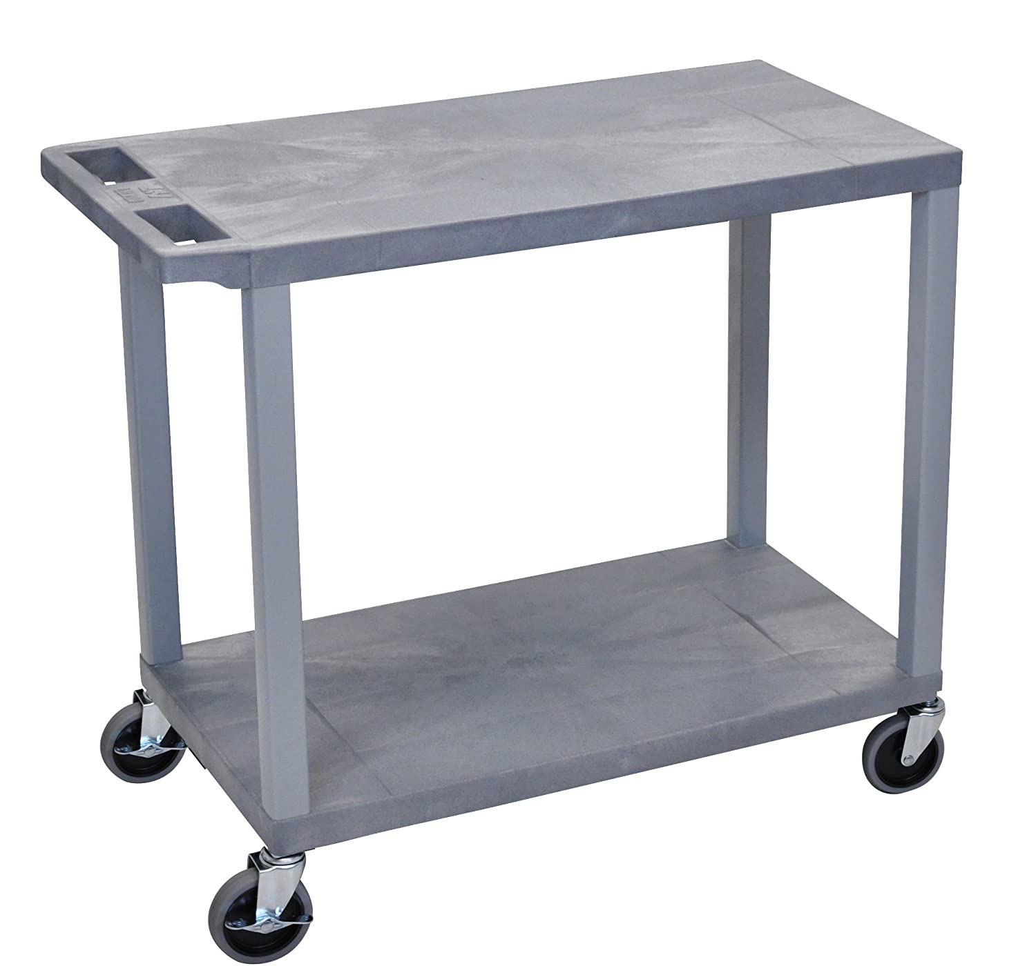 LUXOR EC22-G Cart with 2 Flat Shelves, 18 x 32, Gray 18 x 32 LUXEC22-G