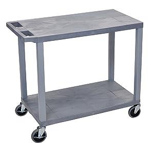 """LUXOR EC22-G Cart with 2 Flat Shelves, 18"""" x 32"""", Gray"""