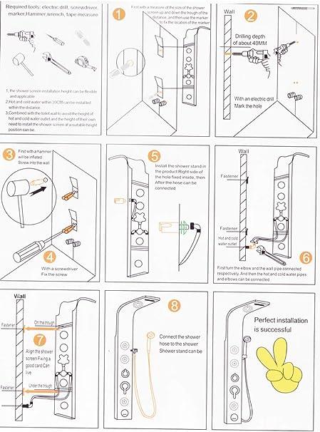 OZSGH Set de Ducha Columna de Panel de Ducha de baño Negro Columna ...