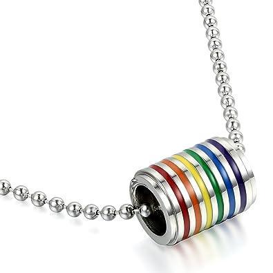 7ae7cb05f40 JewelryWe Bijoux Pendentif Collier Homme Femme Mode Arc-en-Ciel Rainbow  Anneaux Acier Inoxydable