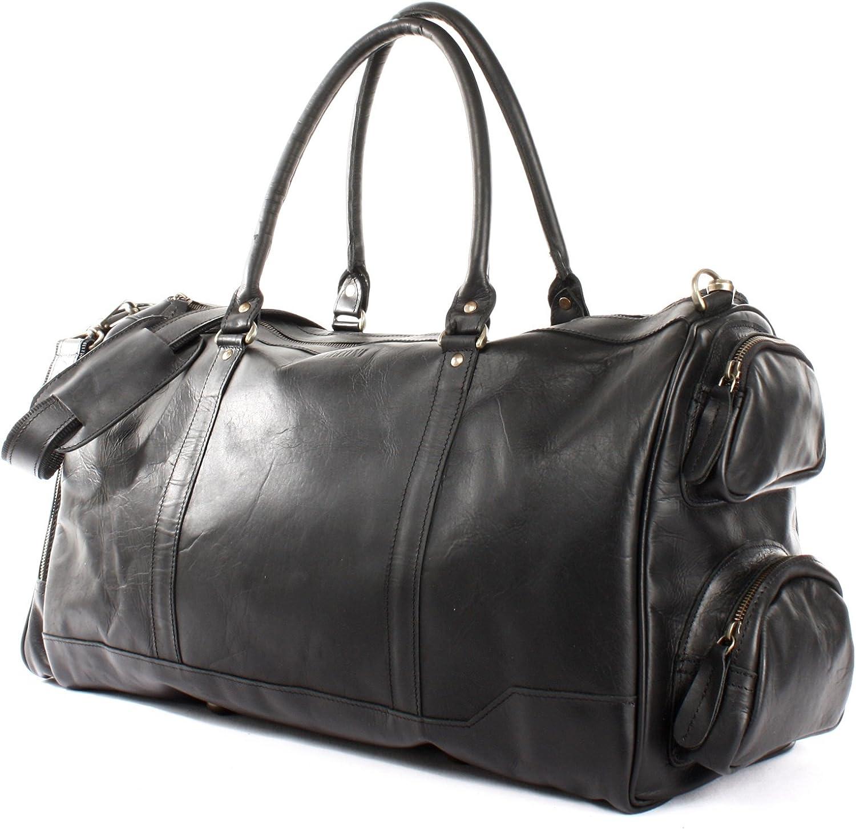 Herren Weekender Handgep/äck Reise Ledertasche 55x30x27cm LE2017 LECONI XL Reisetasche Sporttasche echtes Rindsleder Damen