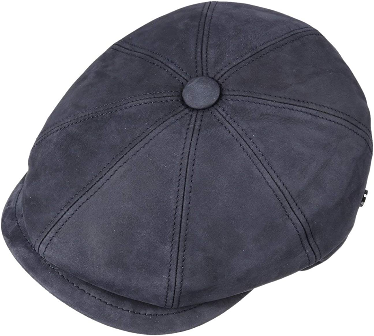 Lierys Nappa Wax Coppola in Pelle by Uomo Made Italy Flat cap Cappello Piatto Invernale con Visiera Fodera Autunno//Inverno