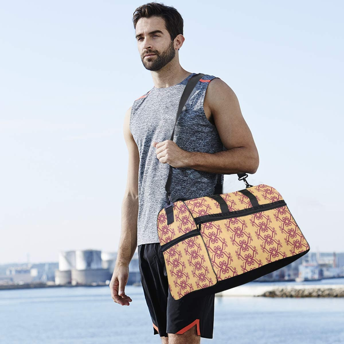 Travel Duffels Modern Vintage1 Duffle Bag Luggage Sports Gym for Women /& Men