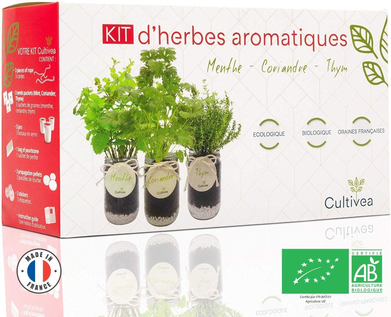 Cultivea Kit completo de hierbas - Cultiva tus propias hierbas aromáticas - 100% ecológicas: semillas orgánicas, bio seeds - Decora tu hogar con un huerto urbano (Menta, Cilantro, Tomillo)