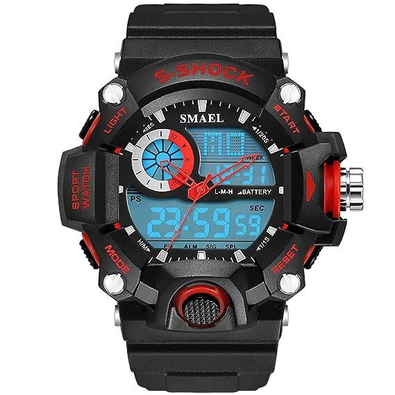 AnazoZ Reloj Adolescente Reloj Hombre Reloj Multifunción Reloj Montañismo Relojes LED Reloj Deportivo Reloj Impermeable Relojes Electronicos Rojo: ...