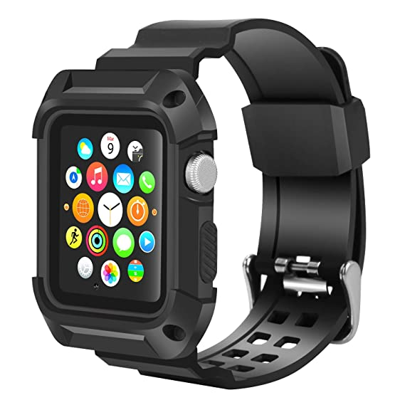 brand new 97d9e fb113 Wolait Replacement for Apple Watch Band 42mm, Rugged Sports Protective  Frame iWatch Case with Band for Apple Watch Series 3 Series 2 Series 1 Men  ...