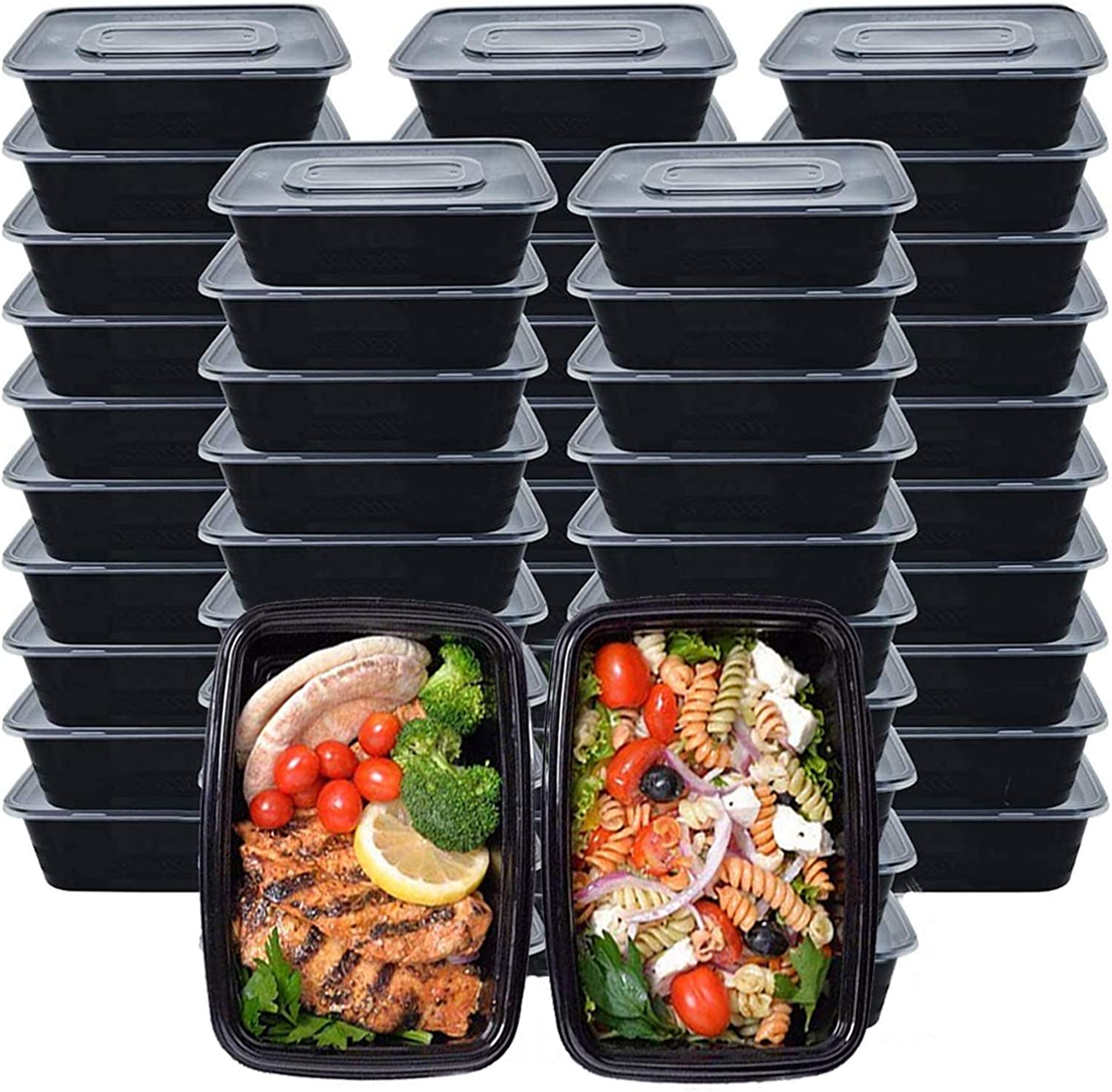 Meal Prep Containers, 50 Pack Food Storage Containers with Lids,Disposable Bento Box Reusable Plastic Bento Lunch Box Microwave/Dishwasher/Freezer Safe (750ML/ 26 OZ)