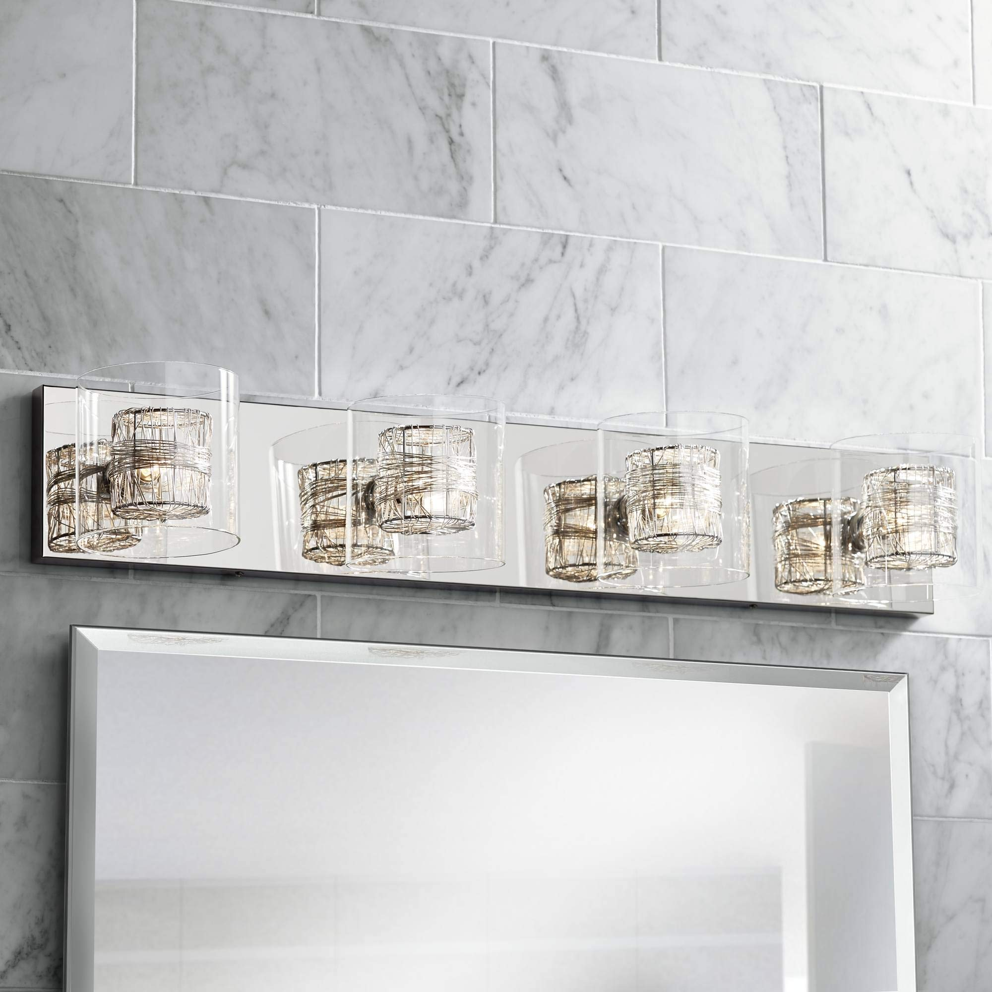Modern Wall Light Four-Light Chrome Wrapped Wire 30.75'' Vanity Fixture for Bathroom Over Mirror - Possini Euro Design
