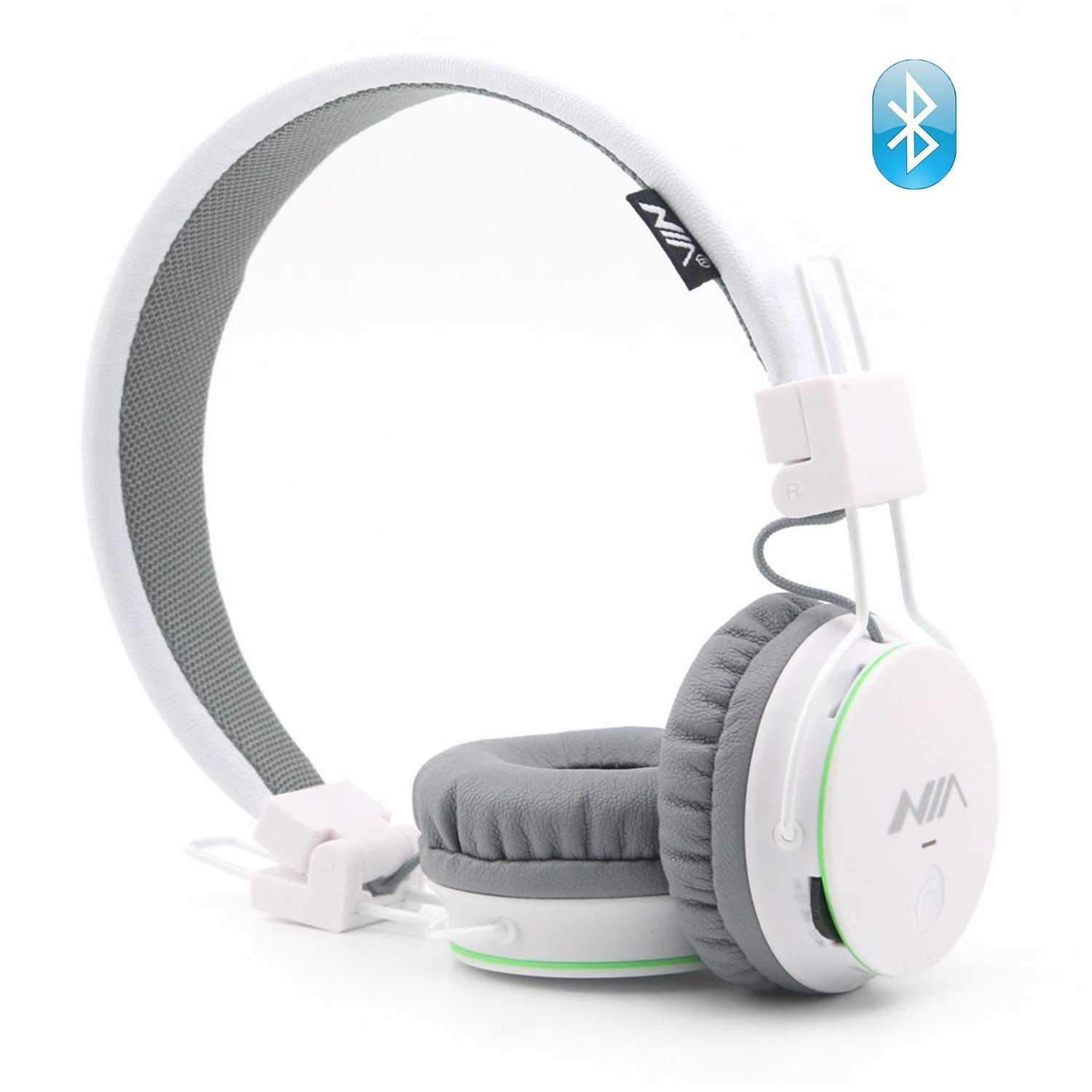 Wireless Bluetooth Headphones for Kids, Over Ear Headset Lightweight Foldable SD Card and FM Radio, Built-in Mic and Wired Mode for Computer Laptop iPhone Cell Phone and Travelling Plane (White)