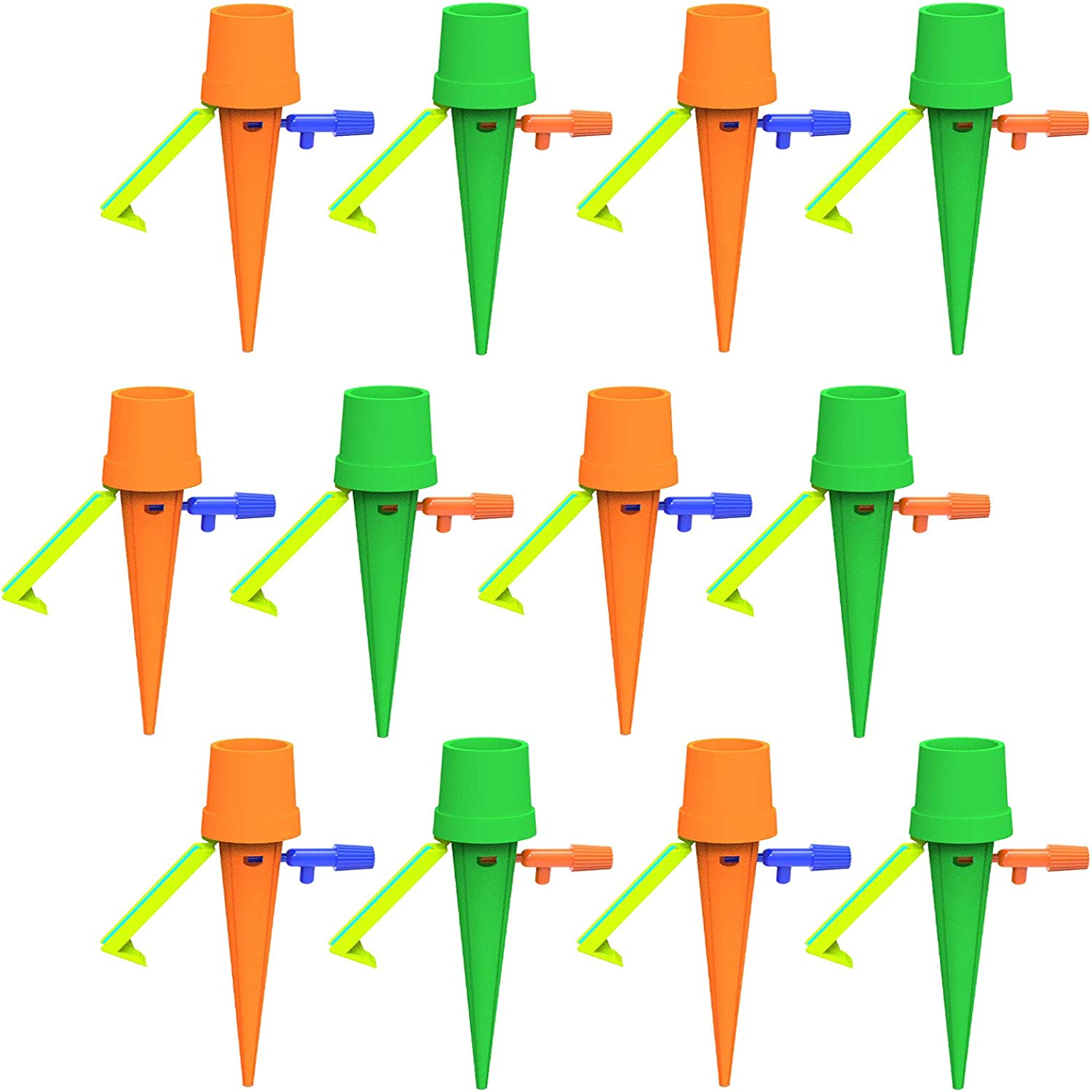 12 Pcs Automatic Plant Watering Spikes - Self Water Plants System Devices with Control Switch, Vacations Potted Waterers Stakes When Away