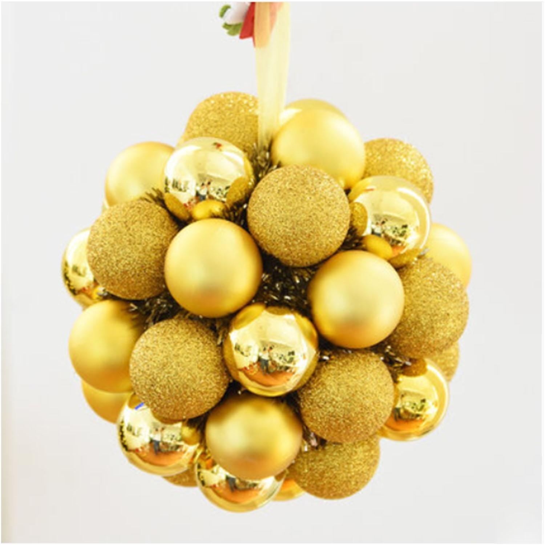 OOFYHOME Christmas ball, decorative ball, string flower ring Hydrangea, decorative pendant, Christmas tree decoration, window scene props lob , B